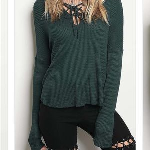 Tops - NEW Hunter green thermal long sleeve